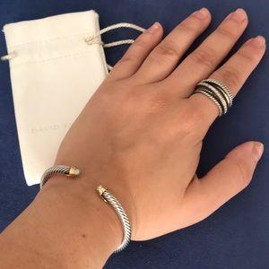 David Yurman 18K Diamond Cap Cable Cuff Bracelet
